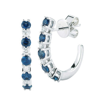 0.90ctw Blue Sapphire and 0.16ctw Diamond Hoop Earrings, 14ct White Gold