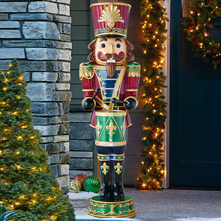 christmas 6ft 180m resin nutcracker with 34 led lights