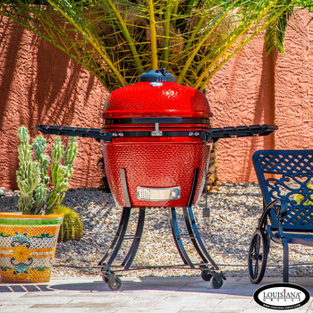 "Louisiana Grills  24"" (60 cm) Ceramic Kamado Charcoal Barbecue in 3 Colours + Cover"