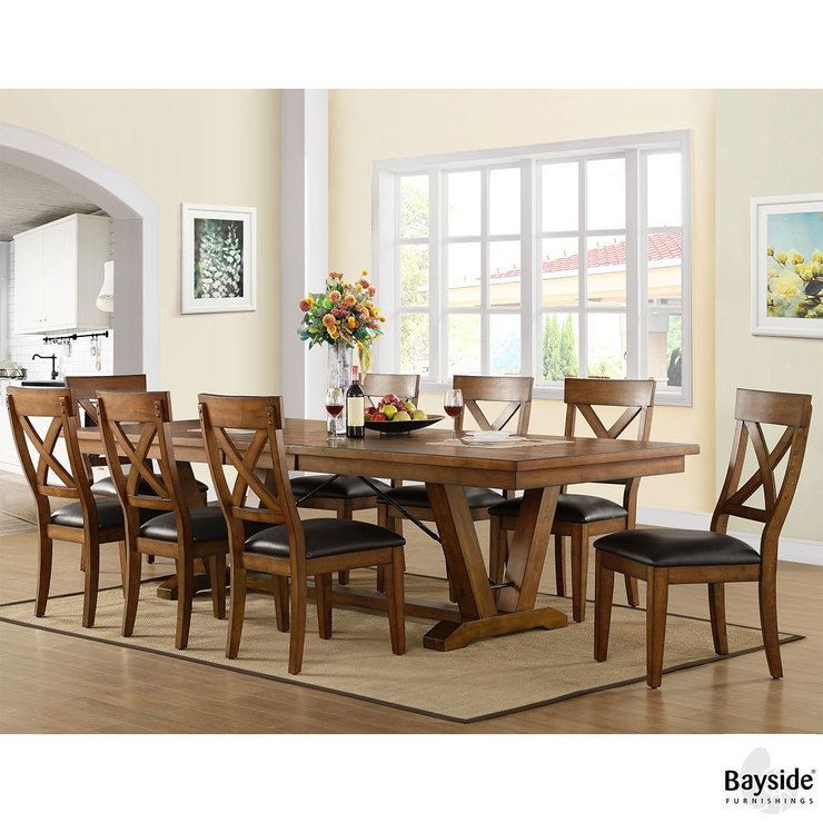 Whalen Furniture Extending Dining Room Table + 8 Chairs