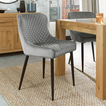 Bentley Design Grey Velvet Diamond Stitch Dining Chair, 2 Pack