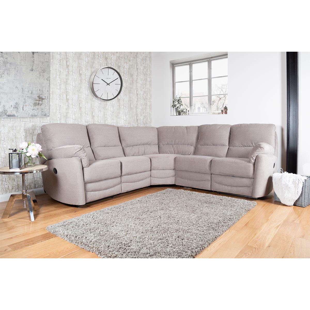 Minster Fabric Power Recliner Corner Sofa In Rich Mink Costco Uk