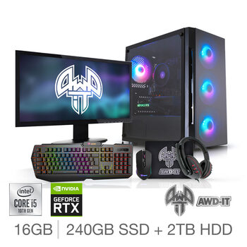 "AWD-IT Hero 6,  Intel Core i5, 16GB RAM, 240GB SSD, 2TB HDD, NVIDIA GeForce RTX 3060, Gaming Desktop PC with 24"" Full HD Widescreen Monitor, RGB Gaming Keyboard & Mouse Plus Headset & Mouse Pad"