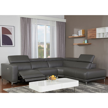 Kuka Grey Leather Power Reclining Sectional Sofa