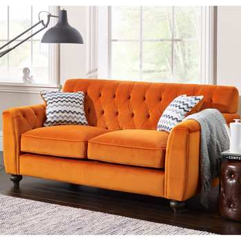 Avante Button Back 2 Seater Velvet Sofa with 2 Accent Pillows, Sunset Orange