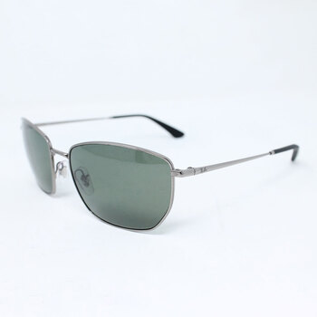 Ray-Ban Gunmetal Metal Sunglasses with Green Polarised Lenses, RB3653 0049A