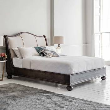 Frank Hudson Safari Bed Frame With Linen Headboard in 2 Sizes