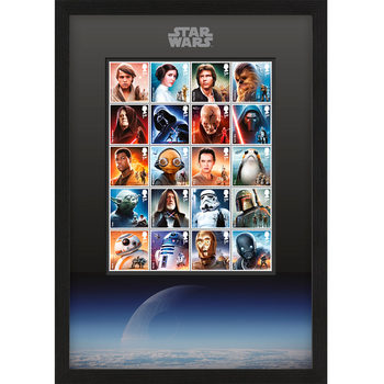 STAR WARS™ Framed Royal Mail® Collectible Character and Droids Stamps with Death Star Backdrop