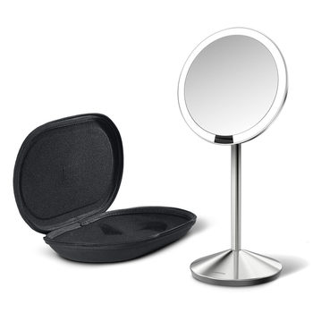 simplehuman LED Mini Travel Folding Sensor Mirror, Brushed Silver ST3004