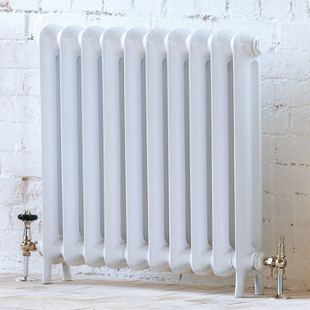 Arroll Peerless White Single Column (795 x 914mm) 10 Section Radiator with Chrome Thermostatic Valves