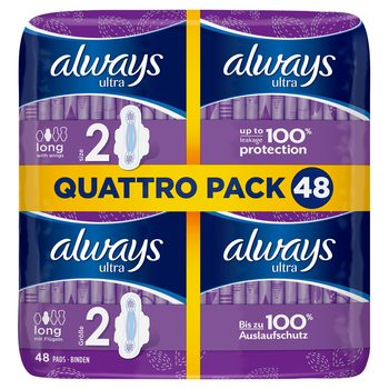 Always Ultra Long Size 2 Sanitary Towels With Wings, 48 Pads