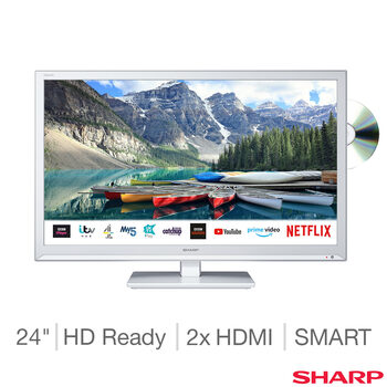 Sharp 1T-C24BE0KR1FW 24 Inch HD Ready Smart TV in White with Built-in DVD Player
