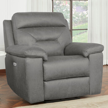 Kuka Justin Grey Fabric Power Reclining Armchair