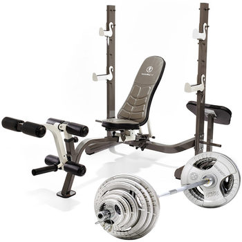 Marcy MWB-70205 Folding Olympic Weight Bench, with 140kg Olympic Weight Set and Gym Floor Matting