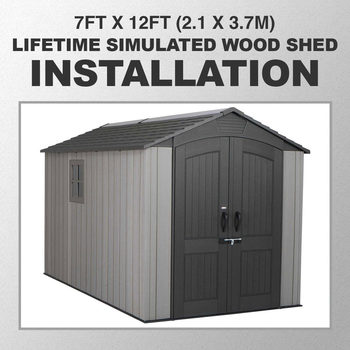 Installation for Lifetime 7ft x 12ft (2.1 x 3.7m) Simulated Wood Look Storage Shed With Windows