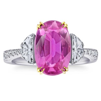 Oval Cut Pink Sapphire and 0.75ctw Diamond Ring, Platinum
