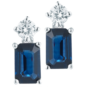 1.30ctw Blue Sapphire & 0.16ctw Diamond Earrings, 18ct White Gold