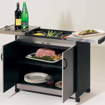 Hostess Heated Trolley with Brushed Steel Finish, HL6232BS