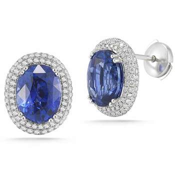 9.76ctw Oval Cut Blue Sapphire and 0.90ctw Diamond Earrings, Platinum