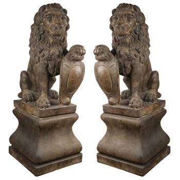 Henri Lion Pedestal Set of 2 Garden Statues