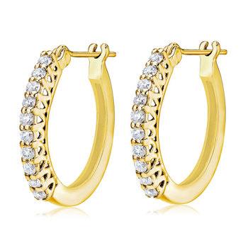 0.50ctw Round Brilliant Cut Diamond Hoop Earrings, 18ct Yellow Gold