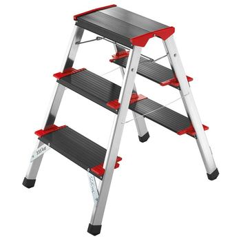 Hailo L90 225 ChampionsLine 3 Tread Double Sided Step Stool Ladder