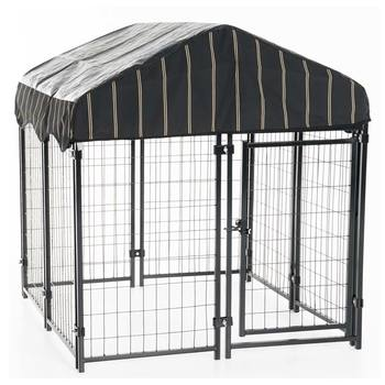 Outdoor Kennel with Weatherproof  Cover,  4 L x 4 W x 4.3ft H (1.2 L x 1.2 W x 1.3m H)
