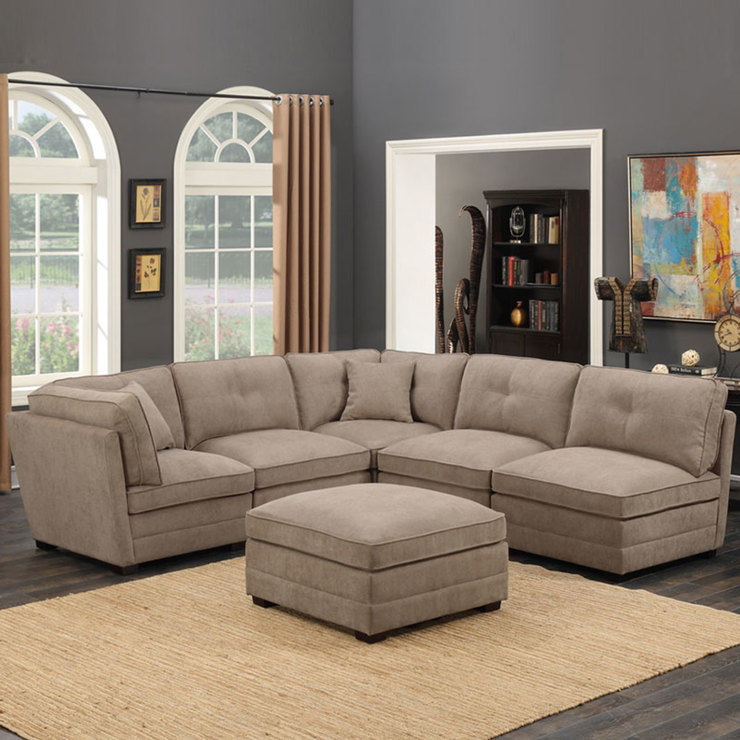 Beau Barrington 6 Piece Modular Beige Fabric Sectional Sofa