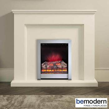 Be Modern Newtown Electric Fireplace Suite, Soft White Timber Surround