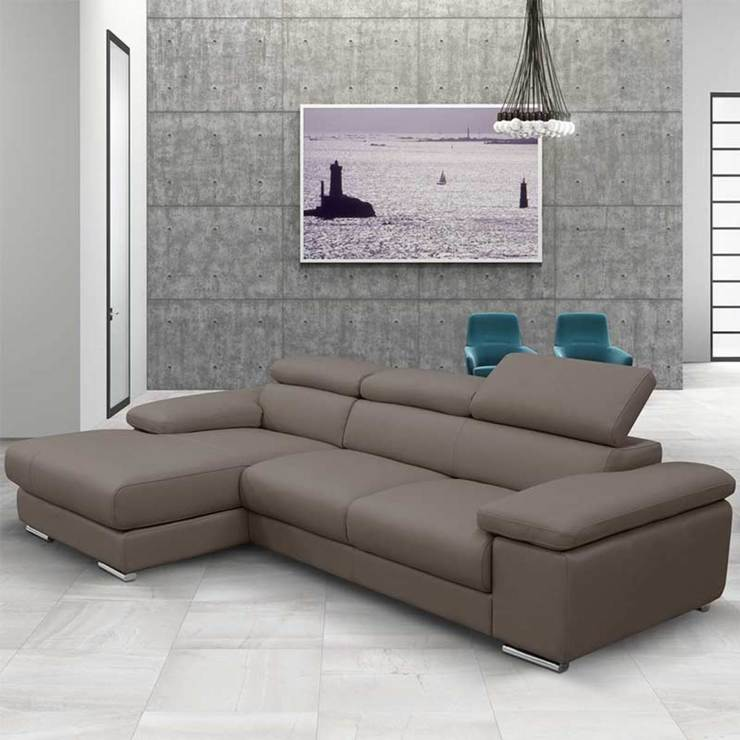 Nicoletti Lipari Taupe Italian Leather Sofa Chaise, Left Facing