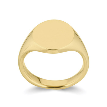 Gents Oval Signet Wedding Band in 18ct Yellow Gold, Size U