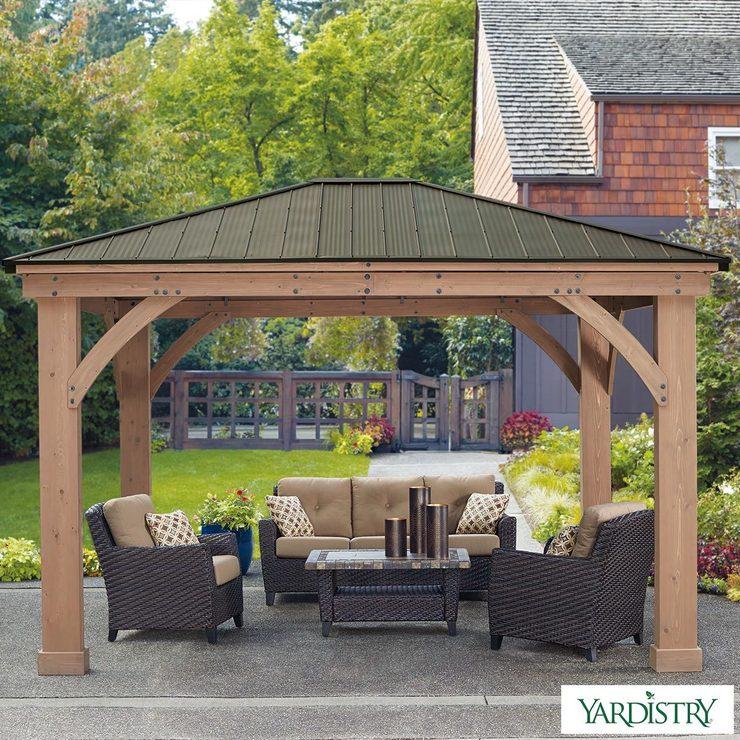 yardistry 14ft x 12ft 4 3 x cedar gazebo with. Black Bedroom Furniture Sets. Home Design Ideas