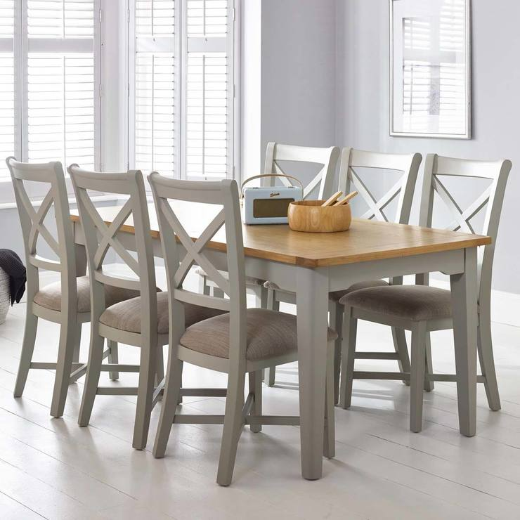 Bordeaux Painted Light Grey Large Extending Dining Table Chairs - Wooden dining room table with 6 chairs