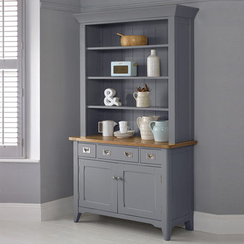 Bordeaux Painted Taupe Wooden Sideboard With Open Shelving