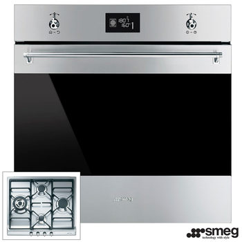 Smeg Integrated Oven SFP6390XE and Gas Hob SER60SGH3 Kitchen Bundle
