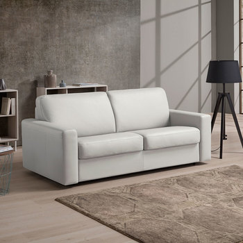 Florence 3 Seater Italian Leather Sofa Bed with Foam Mattress, Grey