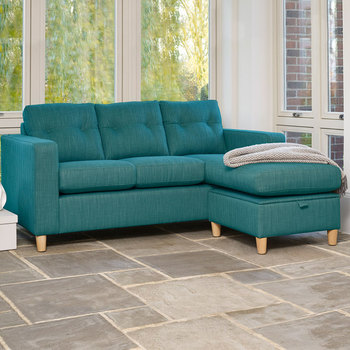 Metro Fabric Sofa Chaise with Storage, Teal