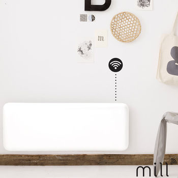 Mill Steel 1.2kW WiFi Controlled Panel Heater in White, NE1200WIFI