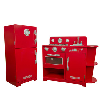 Teamson Kids Wooden Deluxe 2 Piece Play Kitchen in Red (4+ Years)