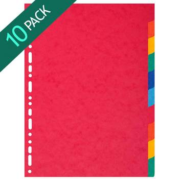 Exacompta A4+ Coloured 10 Tabs Extra Wide Dividers - 10 Packs of 10 Dividers