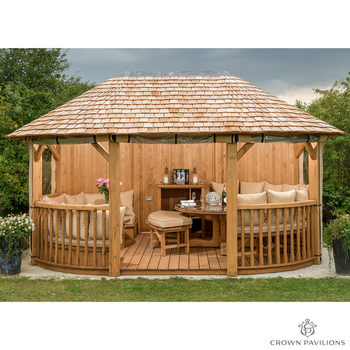 "Installed Crown Pavilions Windsor 16ft 4"" x 10ft 9"" (5 x 3.35m) European Redwood Oval Gazebo + Dining Set (Seats 8) + Lounge Set (Seats 4)"
