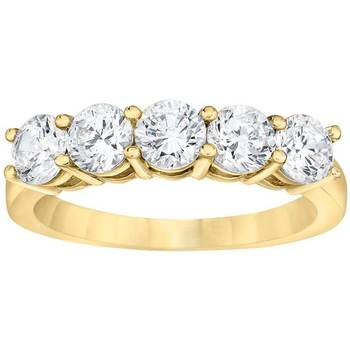 1.00ctw 5 Stone Round Brilliant Cut Diamond Band Ring, 18ct Yellow Gold