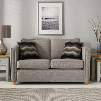 Ohio 2 Seater Grey Fabric Sofa with 2 Accent Pillows, Grey