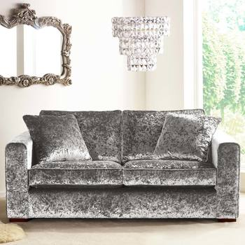 Parq 2 Seater Sofa with 2 Accent Pillows in Pewter Crushed Velvet