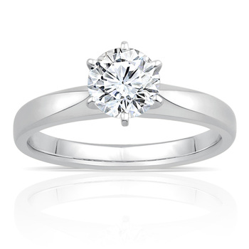 1.00ct Round Brilliant Cut Diamond Solitaire Ring, Platinum