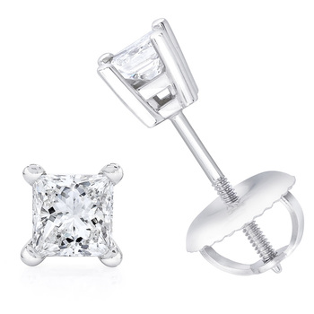 0.50ctw Princess Cut Diamond Stud Earrings, 18ct White Gold