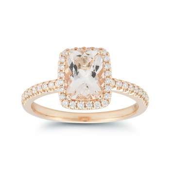 Morganite and 0.23ctw Diamond Ring, 18ct Rose Gold
