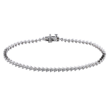 1.90ctw Round Brilliant Cut Tennis Bracelet, 18ct White Gold