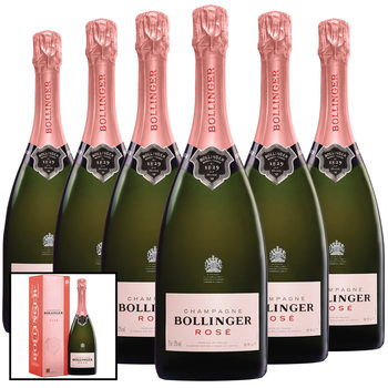 Bollinger Rosé NV Champagne, 6 x 75cl with Gift Boxes