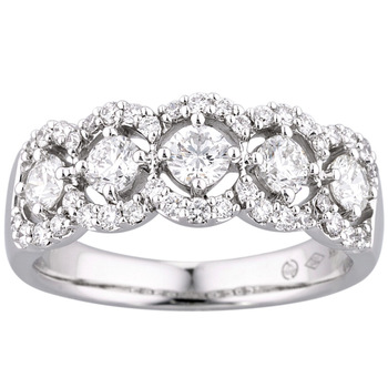 0.96ctw Round Brilliant Cut Diamond Band Ring, 18ct White Gold